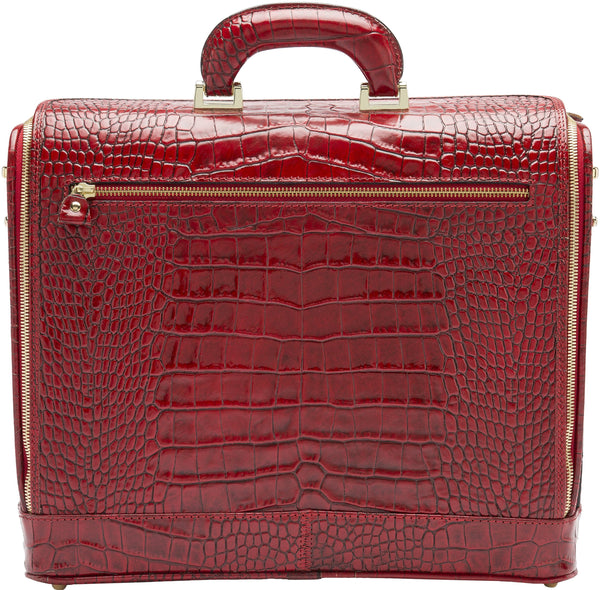 Red croco leather attaché briefcase and laptop bag for men and women