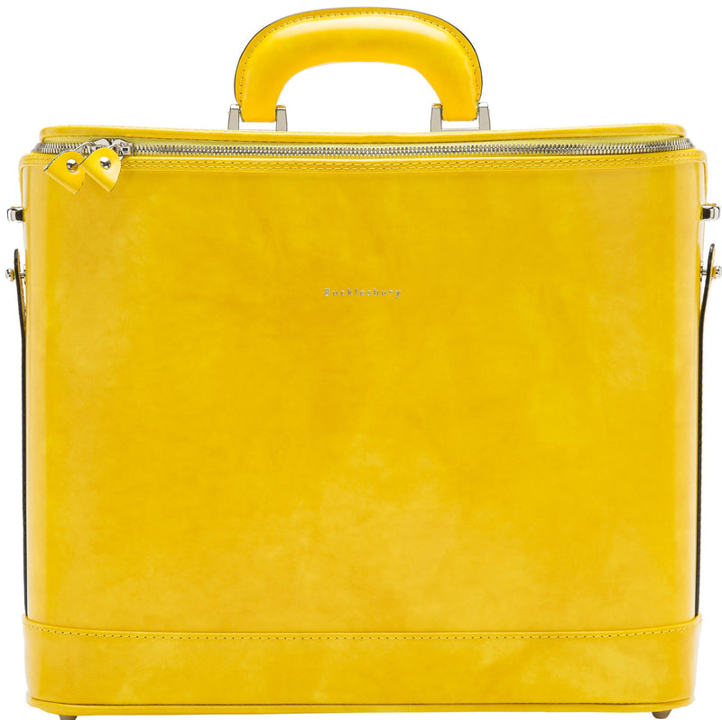 Yellow leather attaché briefcase and laptop bag for men and women