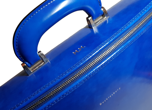 Royal Blue Italian Leather Laptop Bag