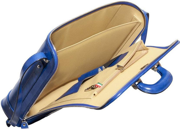 Royal blue leather attaché briefcase and laptop bag for men and women