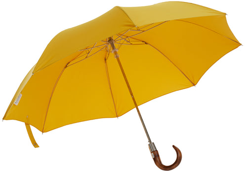 Telescopic umbrella handmade and rain tested in England (yellow)