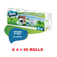 SMILE PREMIUM TOILET PAPER 4 PLY X 10 ROLLS (125 GR PER ROLL) TALC SCENTED X 4 SETS = 40 ROLLS (BULK DEAL)