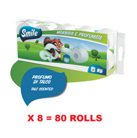 SMILE PREMIUM TOILET PAPER 4 PLY X 10 ROLLS (125 GR PER ROLL) TALC SCENTED X 8 SETS = 80 ROLLS (BULK DEAL)