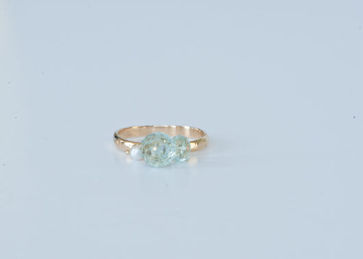 Ring: Aquamarine Dangle Pearl