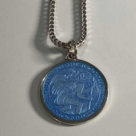 St Christopher Vintage Charm on Silver Chain