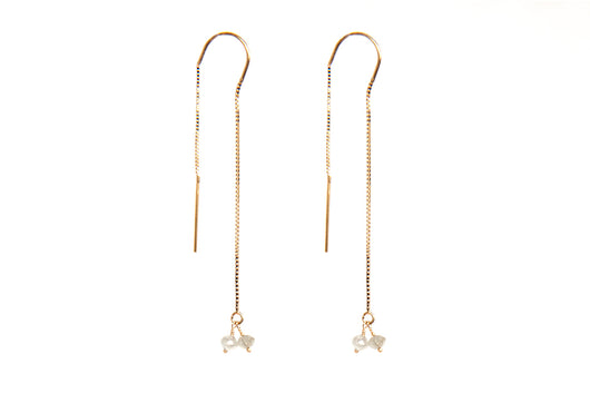 Earrings: Raw Diamond Threaders