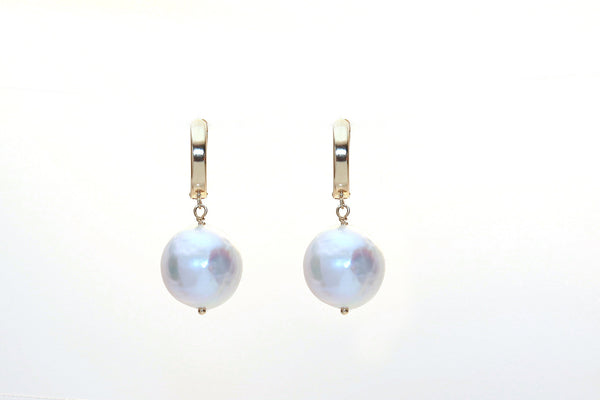 Earrings with White Baroque Pearls
