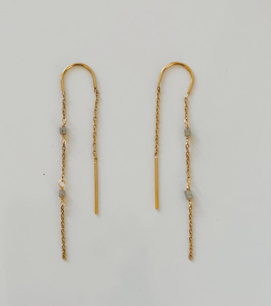 Earrings: Raw Diamond Threader