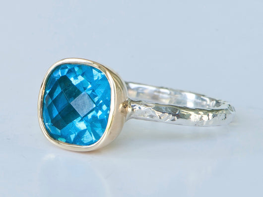 Blue Topaz Cushion Cut Ring