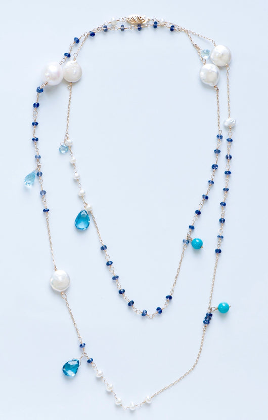 Necklace: Multi Gem Blue Topaz / Pearls