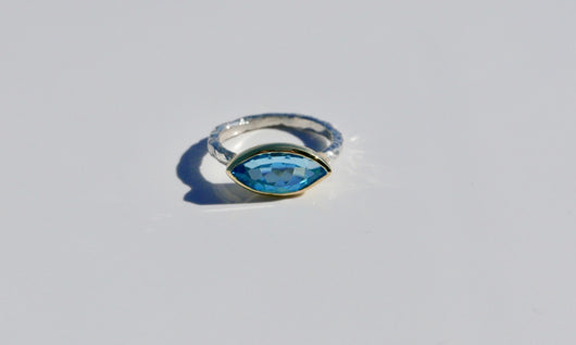 Ring: Blue Topaz Marquis