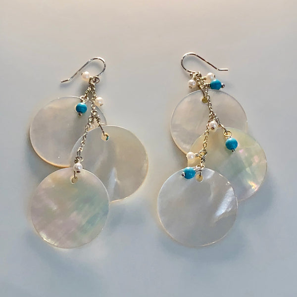 Earrings: Mother of Pearl & Turquoise