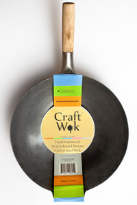 14 inch Carbon Steel Craft Wok with Wooden and Steel Helper Handle (Round Bottom) / 731W88