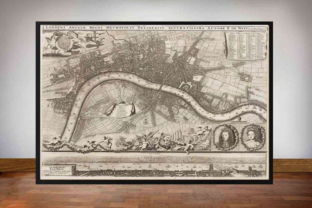 Old London Maps - 1693 by De Witt