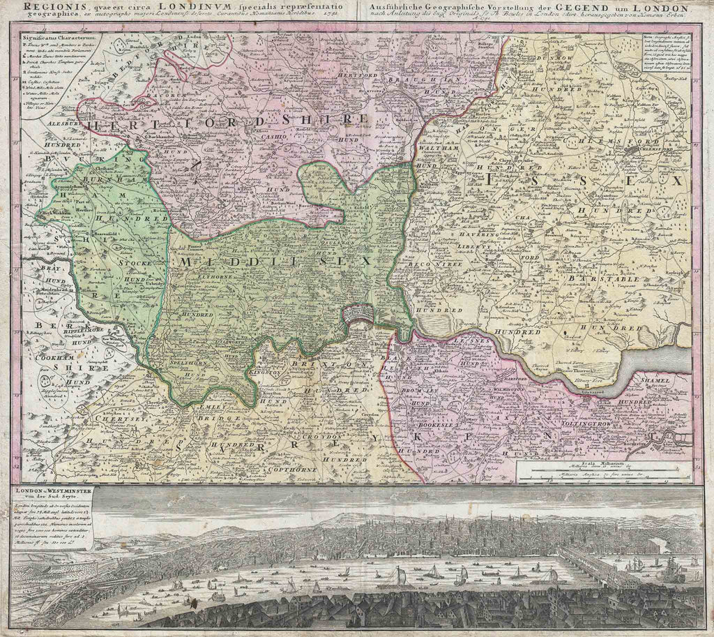 Old Map of London, England and Environs 1741 by Homann