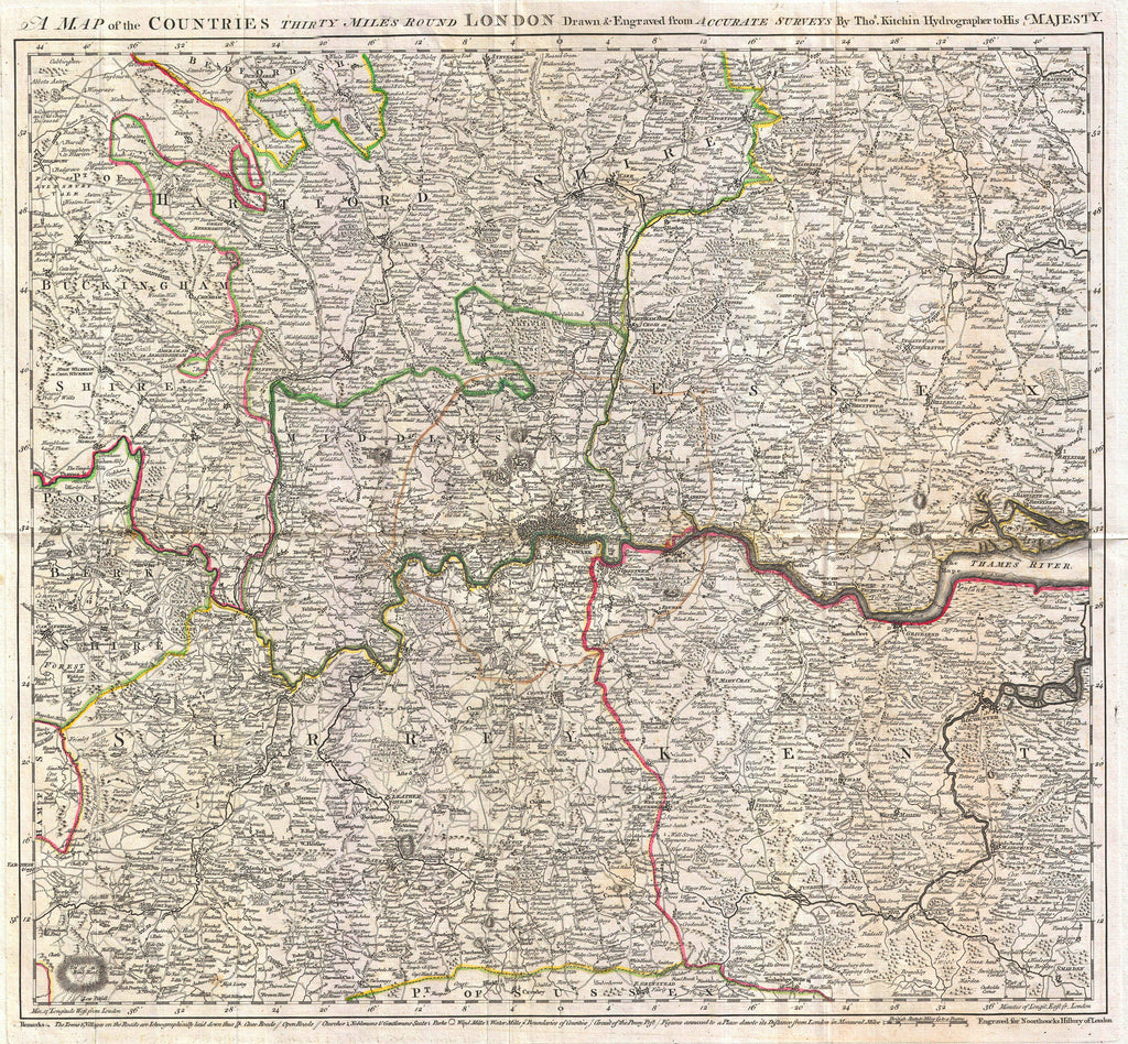 Miles Around London Old Map By Kitchin The Old London Map - The old map company