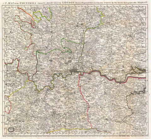 30 Miles around London 1773 old map by Kitchin