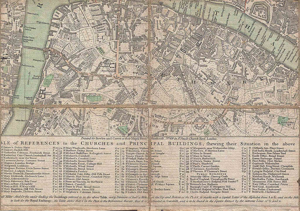Bowle's Old Pocket Map of London 1795