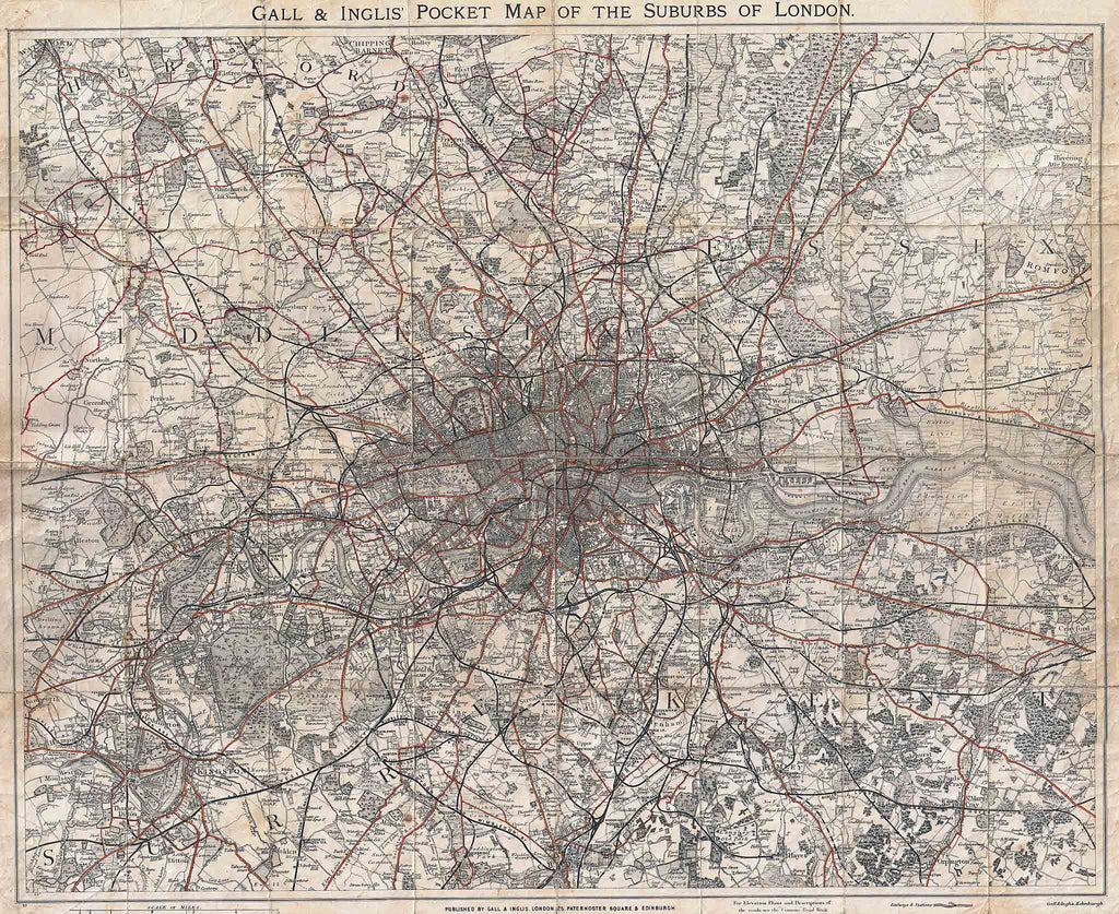 Old Map of London and Environs 1899 by Gall & Inglis