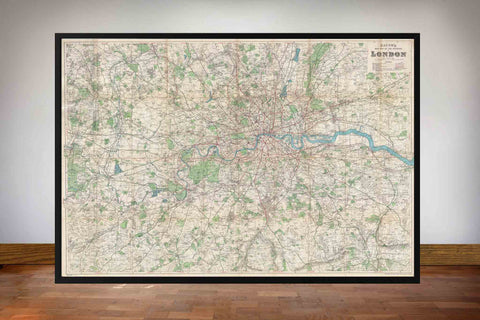 1920 Bacon's Old Pocket Map of London and Environs