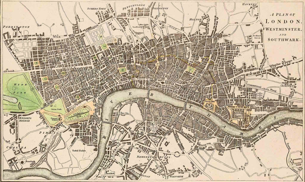 Old Maps of London 1746 by Rocque
