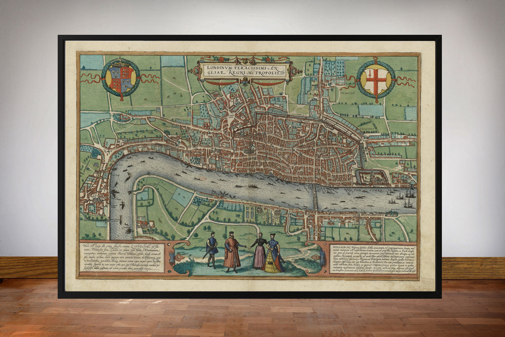 Braun & Hogenberg's Old Map of London circa 1570