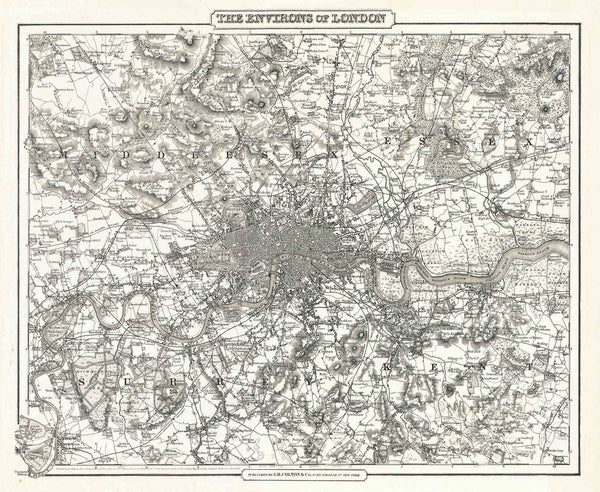 Map of London 1855 by Colton