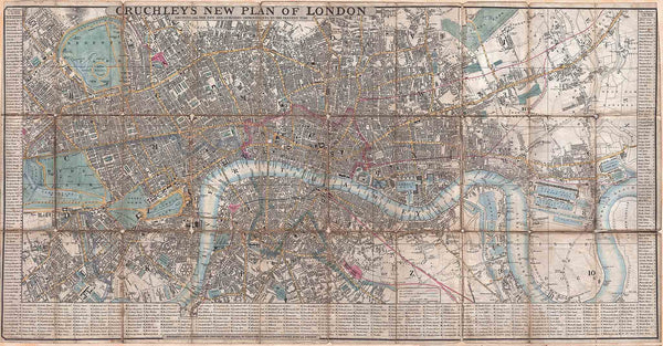 Old Pocket Map of London by Cruchley 1849