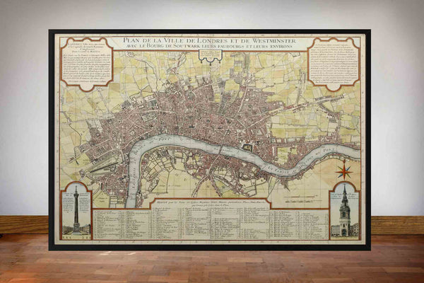 Old London Map by Danet 1727