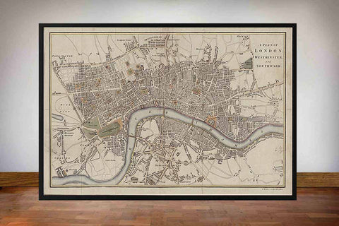 Baker's Old Plan of London, Westminster and Southwalk 1807