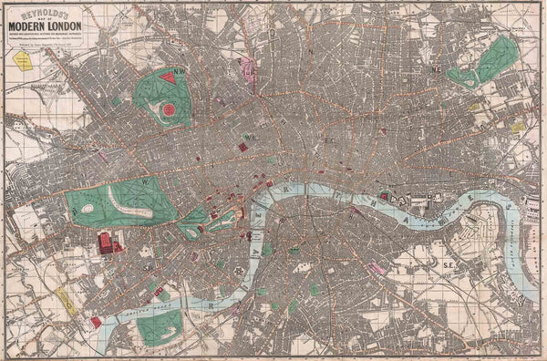 Reynolds Pocket Map of Modern London 1862