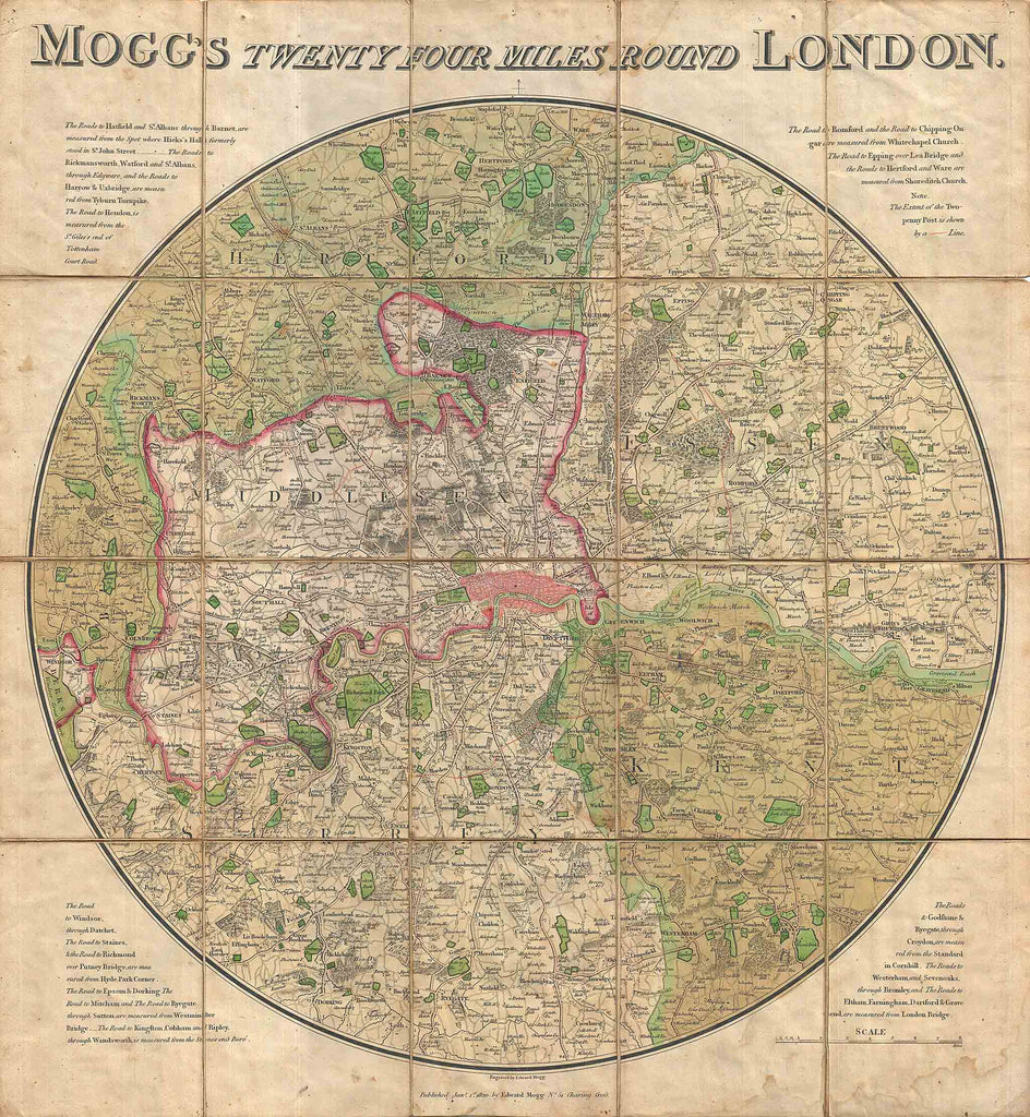 Map Of London With Neighborhoods.Mogg S Pocket Or Case Map Of Old London 1820