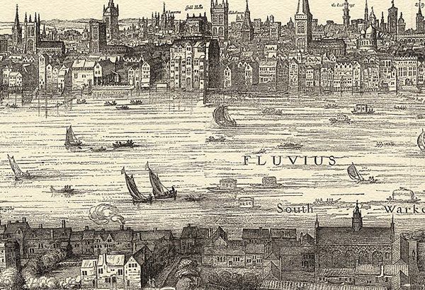 Old Panorama of London 1616 by Visscher