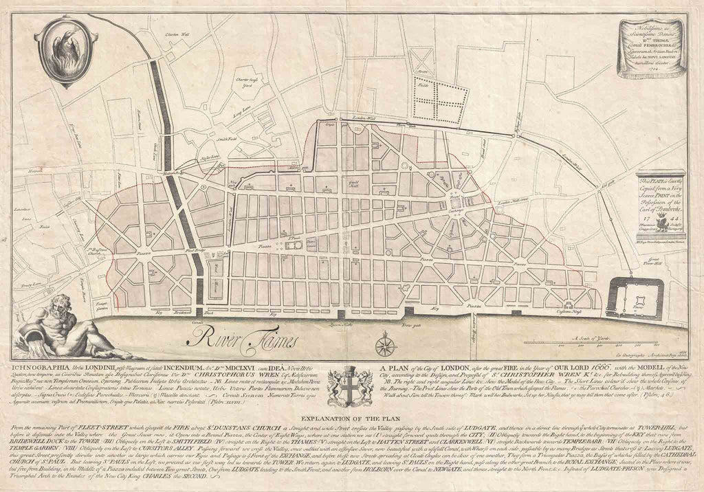 London 1600 Map.Wren S Map Of London 1744
