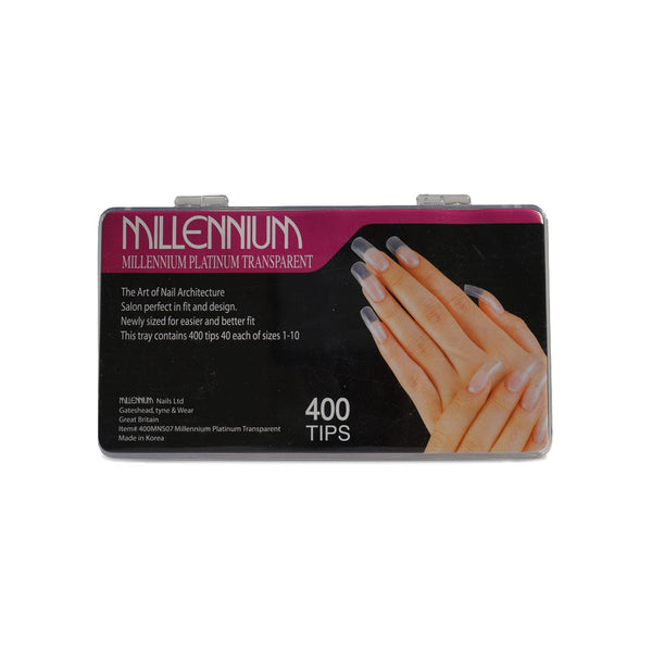 Millennium Platinum Transparent Nails- 400 Tips