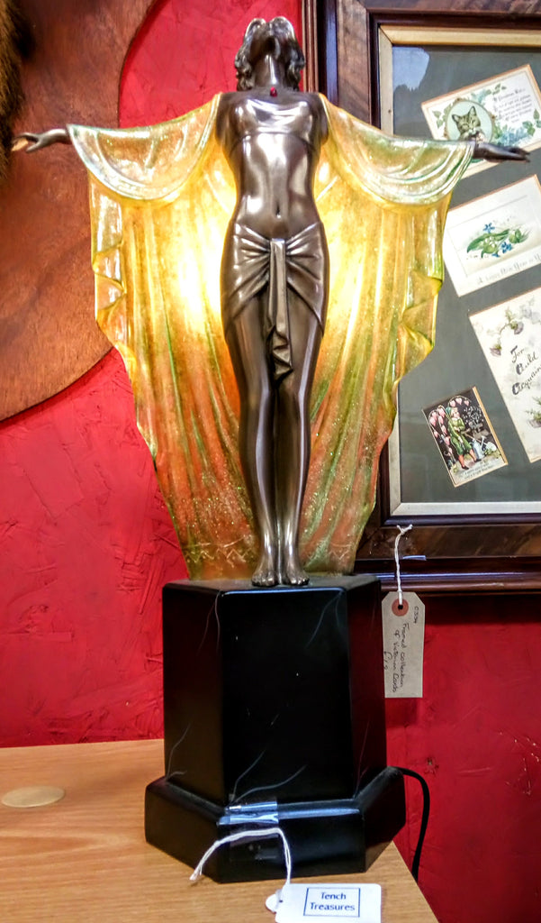 Reproduction Art Deco Style Statue Lamp