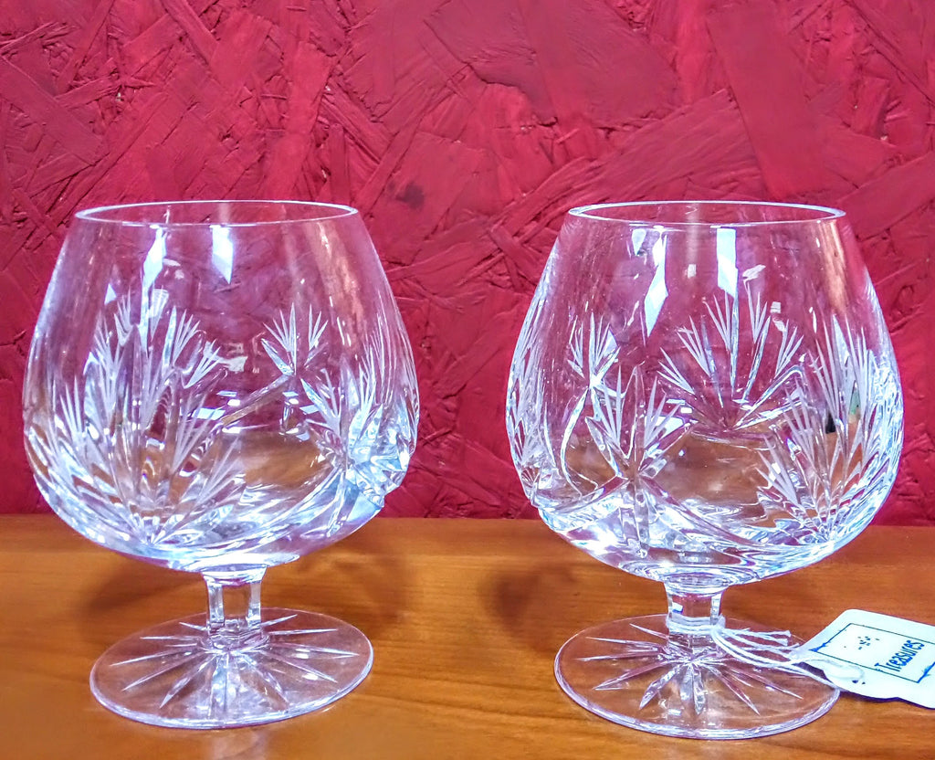 Pair of Bohemia Crystal Brandy Glasses