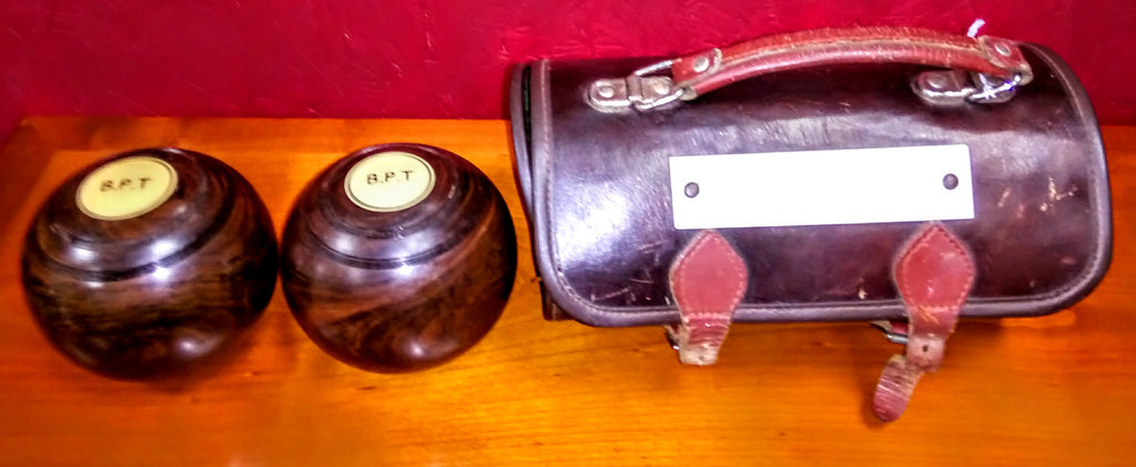 Pair of Vintage Lawn Bowls in Leather Case