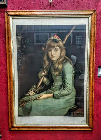 "Birds Eye Maple Framed 19th Century Print ""Cinderella"""