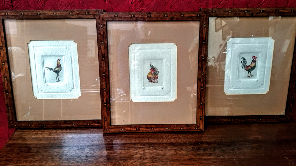 Set of 3 Colour Cockerel Engravings