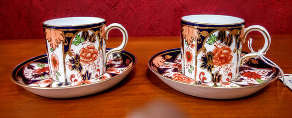 Pair of Royal Crown Derby Cup and Saucers