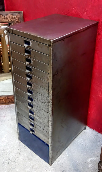 Vintage Refurbished Industrial 13 Draw Filing Cabinet