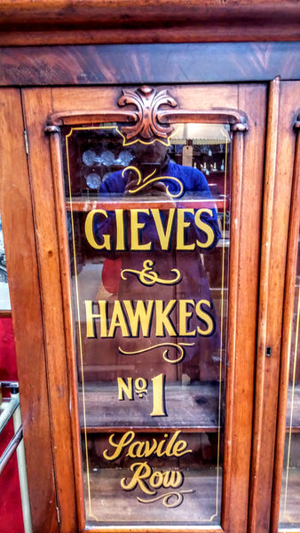 Victorian Display Cabinet with Gieves and Hawkes Sign Writing