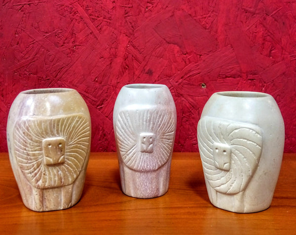 Set of 3 Small Soapstone Carved Vases
