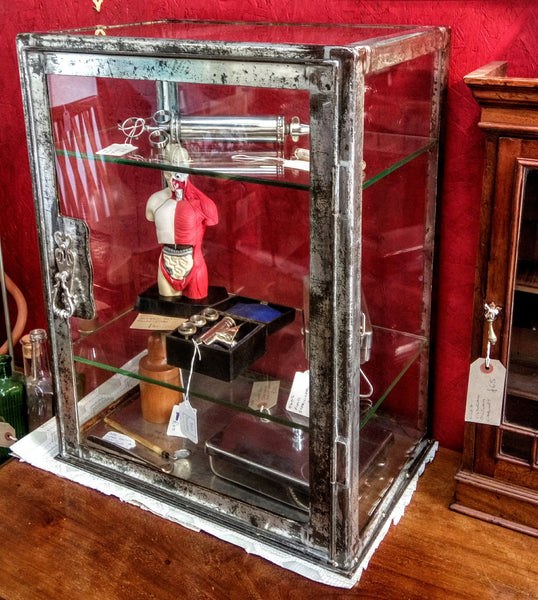 Vintage Glass and Steel Medical Display Cabinet