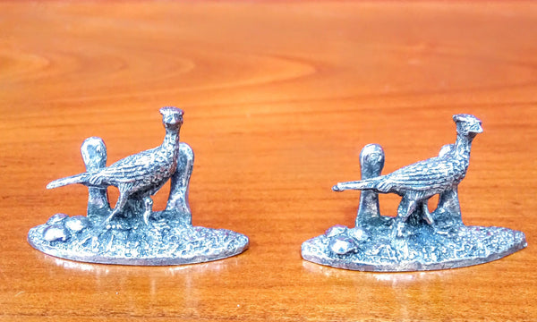 Set of 8 Pewter Game Animal Place Name Holders