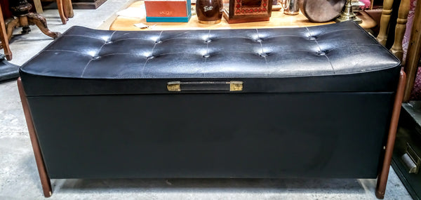 1960's Faux Leather Button Top Ottoman