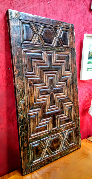 Antique Chest Panel with Moulded Geometric Design