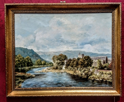 "Oil on Canvas ""The River Conwy from Pont Fawr Bridge, Llanwrist"" by G.Hance"