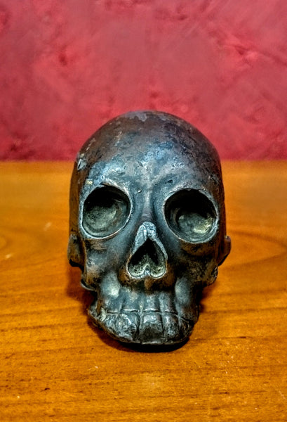 Japanese Metal Okimono Skull late 19th early 20th Century